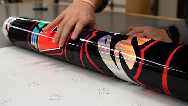 rolling up vinyl print