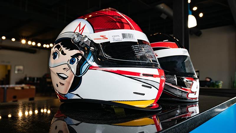 vinyl wrapped racing helmet