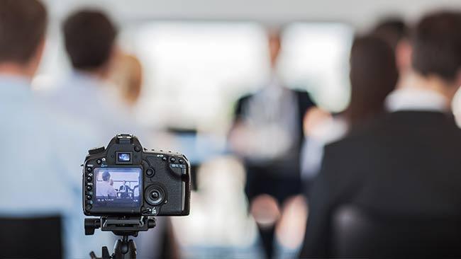 camera recording business presentation